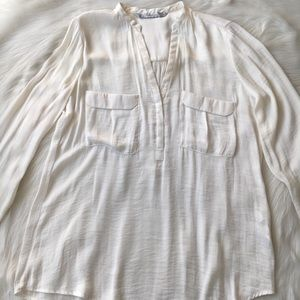Zara Silk Off-White Blouse with Long Sleeves